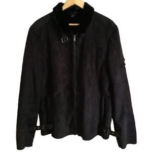 MEN ZARA Black Faux Fur Sherpa Winter Coat